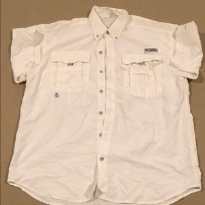 Columbia PFG Short Sleeve Button Up (White)